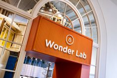 Wonder Lab at the CMC is a world of water and air, which visitors see in the graphic of a water icon as they enter this section of the museum through an orange portal. Similar portals help visitors find their way through each section of the museum. Photography: Mark Steele Photography Interior Design And Graphic Design, Graphic Design Services, Water Icon, Cleveland, Portal, Lab, Museum, Photography, Fotografie