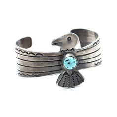 Native American Vintage Cuff Traditional embossed stamping along the sides and Thunderbird design in center Antiqued Silver with Authentic Baby Blue Turquoise Stone One of Kind Vintage Thunderbird* sy Cuff Jewelry, Stamped Jewelry, Handcrafted Jewelry, Native American Jewellery, American Indian Jewelry, Turquoise Jewelry, Turquoise Stone, Turquoise Cuff, Insect Jewelry
