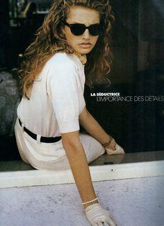 View image: french elle 13mar1989 (27)  ELLE France 13th March 1989 La Seductrice En Blanc Absolument Model: Michaela Bercu Ph: Pamela Hanson