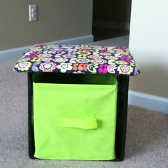 jazzed up milk crate storage...In like this idea    from Clutter-Free Classroom: DIY Seating With Storage {Coffee and a Clever Idea}