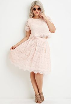 Plus Size Pleated Eyelash Lace Skirt