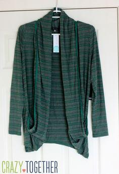 Concord Striped Draped Pocket Cardigan from 41Hawthorn - January 2015 Stitch Fix review #stitchfix