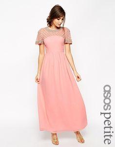 ASOS PETITE Lattice Embellished Flutter Sleeve Maxi Dress