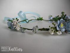 ProjectGallias: #projectgallias 100% handmade flower hair garland in blue, rękodzieło kwiatowy wianek na głowę w kolorach niebieskich