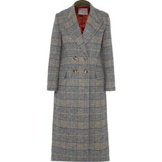 ALEXACHUNG Checked tweed coat (56.605 RUB) ❤ liked on Polyvore featuring outerwear, coats, jackets, grey, multi coloured coat, checkered coat, tweed wool coat, grey double breasted coat and alexachung