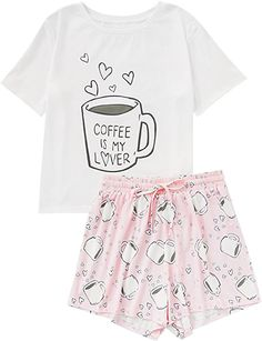 58881a9d94 DIDK Women s Cute Cartoon Print Ice Tee And Shorts Pajama Set White Coffee  L at Amazon Women s Clothing store
