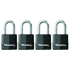 Magnum 1-3/4 in. Covered Laminated Steel Padlock with 1-1/2 in. Shackle (4-Pack), Black