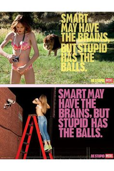 """While Diesel's controversial """"Be stupid"""" campaign won a Grand Prix in Outdoor at Cannes, the above executions were banned by the UK Ad Standards Authority, which stated that the images were likely to cause """"serious offense"""". In response, Diesel humorously deconstructed the ads in an effort to defend them. The top ad, the fashion brand said, """"tackled society's preoccupation with 24/7 camera surveillance in a light and non-threatening way,"""" while the bottom ad """"portrayed a very strong and…"""