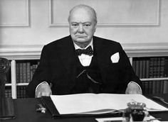 An 80th birthday portrait of Churchill in the cabinet room in 1954.