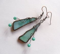 Stained glass earrings one of a kind copper wire dangle turquoise jewelry Little Cricket