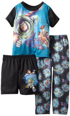 "Disney Boys Infant & Toddler ""Look Out Roundup Time"" Short Sleeve 3 Piece Pajama Set, Black Print.  So cute!"