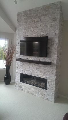 oyster photo of Fireplace facing projec. Fireplace Feature Wall, Fireplace Facing, Living Room Decor Fireplace, Fireplace Tv Wall, Basement Fireplace, Fireplace Remodel, Fireplace Surrounds, Fireplace Design, Stone Patio Designs