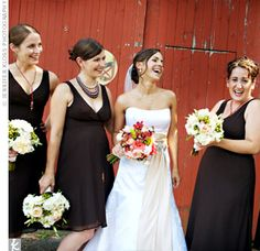 Espresso silk chiffon tea-length dresses from J Crew with creamy bouquets