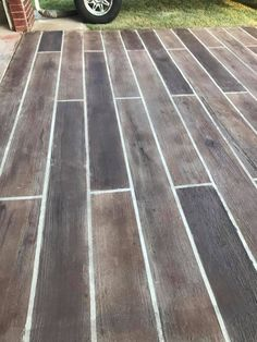 Easy to clean and maintain stained concrete driveways with Direct Colors Acid Stains, Antiquing Stains and Tinted Sealers Outdoor Concrete Stain, Stained Concrete Driveway, Painted Concrete Floors, Cement Patio, Concrete Color, Concrete Driveways, Concrete Overlay, Walkways, Painting Concrete Porch