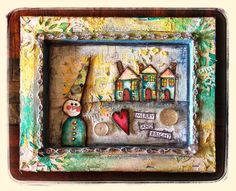 8x10 mixed media canvas created for CrowAboutStudio'sB using kit: Merry & Bright
