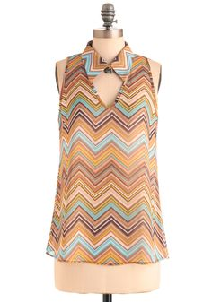 Rippled Reflections Top - Mid-length, Brown, Multi, Yellow, Blue, Stripes, Cutout, Casual, Vintage Inspired, 70s, Sleeveless