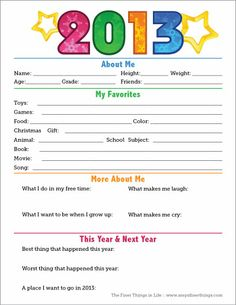 2013 Time Capsule Printable {Happy New Year!}