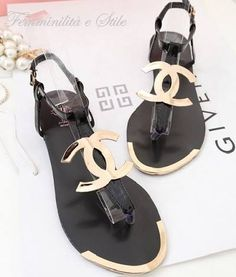 Chanel black gold sandals YES! Cute Sandals, Flat Sandals, Cute Shoes, Me Too Shoes, Shoes Sandals, Gold Sandals, Summer Sandals, Pretty Sandals, Shoes Sneakers