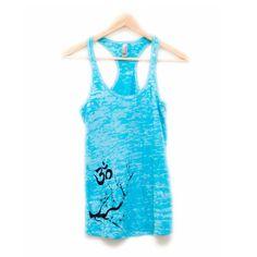 turquoise blue yoga tank top  burnout fabric  om by heidiroland, $36.00https://www.etsy.com/listing/186412580/turquoise-blue-yoga-tank-top-burnout?ref=shop_home_active_3
