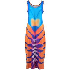 Sleeveless Tie Dye Dress ($19) ❤ liked on Polyvore featuring dresses, tye dye dress, tie die dress, blue sleeveless dress, sleeveless dress and tie-dye dress