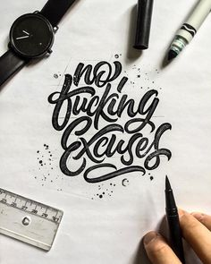 Hand lettering inspiration on a daily basis! Calligraphy and hand lettering for beginners we provide inspirational and educational content on the art of typography! Visit our website to find out more :) Tattoo Fonts Cursive, Hand Lettering Quotes, Graffiti Lettering, Lettering Styles, Types Of Lettering, Script Lettering, Typography Quotes, Typography Letters, Lettering Design