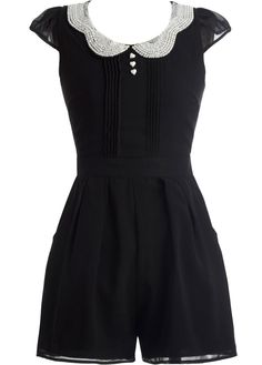 Embellished Collar Romper: Features a stunning pearl-embellished scalloped peter pan collar, super cute miniature cap sleeves, triple heart button trim on chest, pintuck pleating throughout, and adorable romper shorts with side pockets to finish.