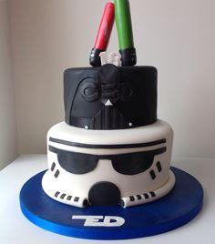 Star Wars cake - storm trooper and Darth Vader and Light Sabres.