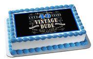 Vintage Dude 40th Edible Birthday Cake Topper OR Cupcake Topper, Decor