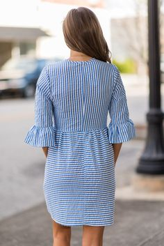 Tie together cute and casual with this striped dress! Shop quickly while supplies last! - Polyester - Comfortable inside fibers - Handwash only Simple Short Dresses, Striped Short Dresses, Summer Dresses With Sleeves, Midi Dress With Sleeves, Dresses For Teens, Striped Dress, Blue Dresses, Casual Dresses, Fashion Dresses
