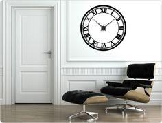 Wandtattoo-Uhr Römische Zahlen
