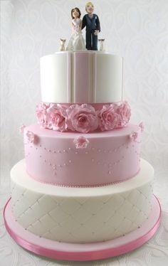 Pink Wedding cake with custom topper - by TashasTastyTreats @ CakesDecor.com - cake decorating website