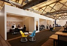 Jensen Architects has completed the design of a new office for design and innovation consulting firm IDEO. The company's San Francisco office is located in the city's Port District. Church Office, Open Office, Workspace Design, Office Workspace, Corporate Interiors, Office Interiors, Commercial Design, Commercial Interiors, Lofts