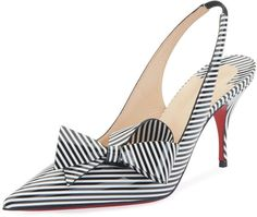 Tendance chausseurs : Revelation of an almost hypnotic illusion the Clare Nodo pointy-toe pump is covered in black and white striped patent leather and adjusts with an elastic slingback strap on an stiletto heel Stilettos, Pumps Heels, Stiletto Heels, High Heels, Pretty Shoes, Beautiful Shoes, Cute Shoes, Me Too Shoes, Chic Chic