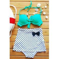 USD11.04Fashion Turquoise Top Polka Dot High-Waisted Bikini Set