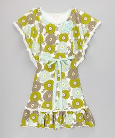 Green Mums The Word Sash Cape-Sleeve Dress - Toddler & Girls
