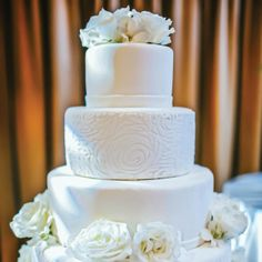 Four-tiered marshmallow fondant wedding cake with lace design | Heather Ann Design & Photography | Cakes by Marla Felton