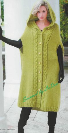 Model 1 Poncho Coat pattern by Svetlana Volkodav Pullover Outfit, Baby Pullover, Sweater Knitting Patterns, Coat Patterns, Poncho Coat, Knit Cardigan, Knitwear Fashion, Knit Fashion, Poncho Mantel