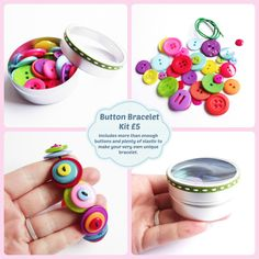 Make a button bracelet kit. Rainbow jewellery.