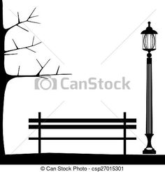Vector - Bench in park with tree and streetlamp. City park landscape. - stock illustration, royalty free illustrations, stock clip art icon, stock clipart icons, logo, line art, EPS picture, pictures, graphic, graphics, drawing, drawings, vector image, artwork, EPS vector art