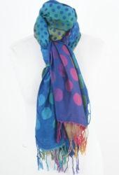 Soepele koningsblauwe pashmina sjaal met multicolor stippen