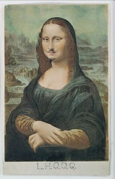 La 'Gioconda con i baffi' o ' L.H.O.O.Q. ' è forse una delle opere più famose e irriverenti del Dadaismo. Realizzata dal francese Marcel Duchamp nel 1919, non è altro che una riproduzione fotografica della Gioconda di Leonardo da Vinci alla quale l'artista ha aggiunto dei baffi ed un pizzetto. L'acronimo in calce alla foto è un gioco di parole: le lettere L.H.O.O.Q. pronunciate in francese ricordano la frase 'Elle a chaud au cul', cioè 'Lei ha caldo al culo', ovvero 'Lei ha voglia di sesso'.