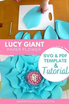 Paper Flower Patterns, Large Paper Flowers, Tissue Paper Flowers, Paper Flower Tutorial, Giant Paper Flowers, Paper Roses, Flower Crafts, Flower Svg, Flower Template