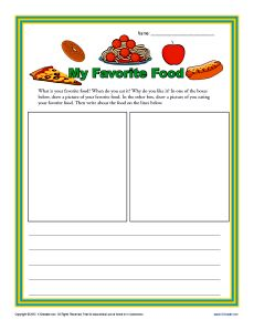 My Favorite Food Kindergarten Writing Prompt Worksheet Persuasive Essay In Hindi Favourite Indian For Clas 2