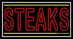 Red Steaks Neon Sign Real Neon Light for sale – Hanto neon sign Neon Lights For Sale, Neon Food, Screen Material, Neon Lighting, Steaks, Handmade Art, Tube, Neon Signs, Glass