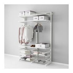 IKEA - ALGOT, Post/foot/wire baskets, The parts in the ALGOT series can be combined in many different ways and so can easily be adapted to needs and space.You click the brackets into the ALGOT wall uprights wherever you want to have a shelf or accessory – no tools needed.Can also be used in bathrooms and other damp areas indoors.