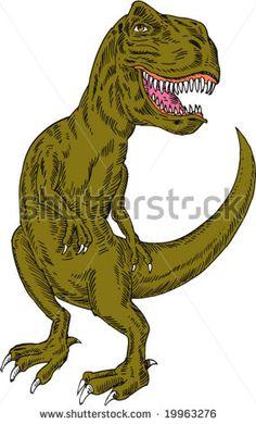 T-rex dinosaur - stock vector #dinosaur #etching #illustration