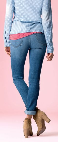 How to Wear Ankle Boots - Tips for Women Over 40, 50, 50 - la redoute prshots - click to READ at: http://boomerinas.com/2012/09/how-to-wear-ankle-boots-with-skinny-jeans-leggings-or-shorts-older-women/