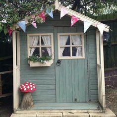 10 Amazingly Awesome Cubby Houses Part 3 - Lovely pretty garden shed / summer house Photo by mrs_button on Instragram - Cubby Houses, Play Houses, Painted Shed, Painted Playhouse, Wendy House, Shed Colours, Paint Colours, Shed Homes, Tiny Homes