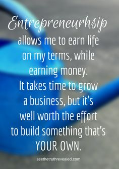 Entrepreneurship...  when you take action towards your own free living, YOUR way... dreams are possible. ;-) It's worth it! <3 #liveyourdream #howtostartanonlinebusiness http://www.seethetruthrevealed.com
