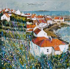 Sunny Day Pittenweem by Deborah Phillips Landscape Art, Landscape Paintings, Landscapes, Boat Painting, Painter Artist, Coastal Art, Art For Art Sake, City Art, Cities